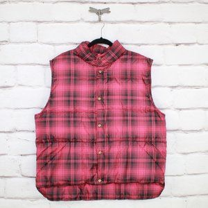 LL BEAN Men's Puffer Plaid Vest Packable Size L